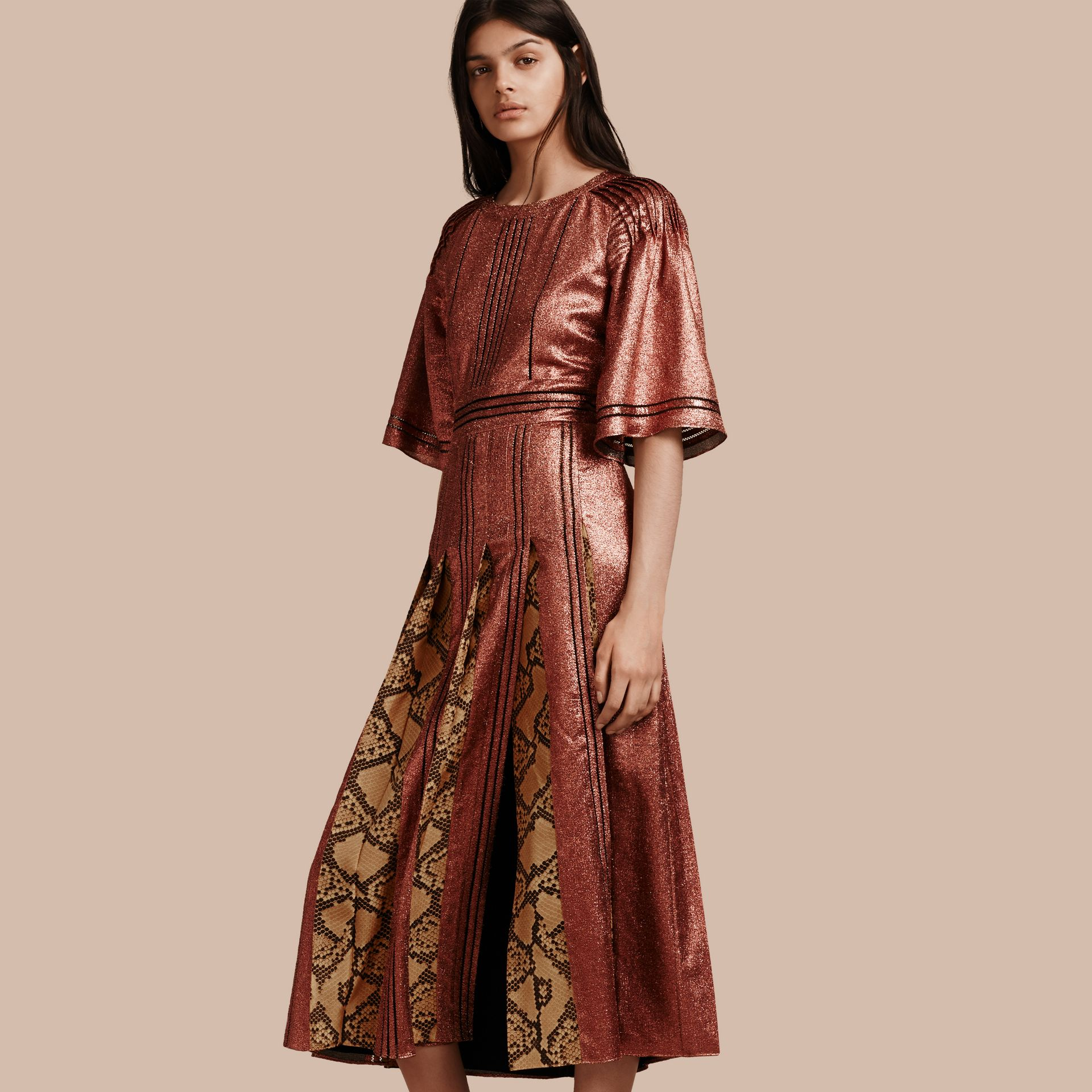 Copper rose Long Lamé and Python Print Dress Copper Rose - gallery image 1