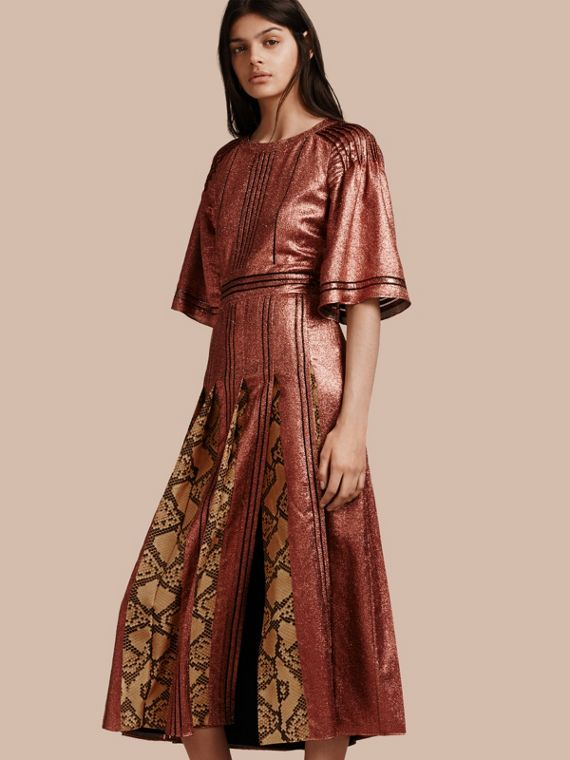 Long Lamé and Python Print Dress Copper Rose