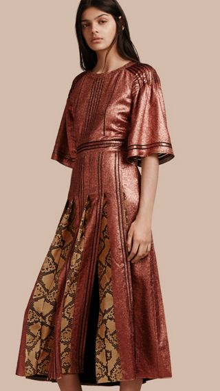 Long Lamé and Python Print Dress