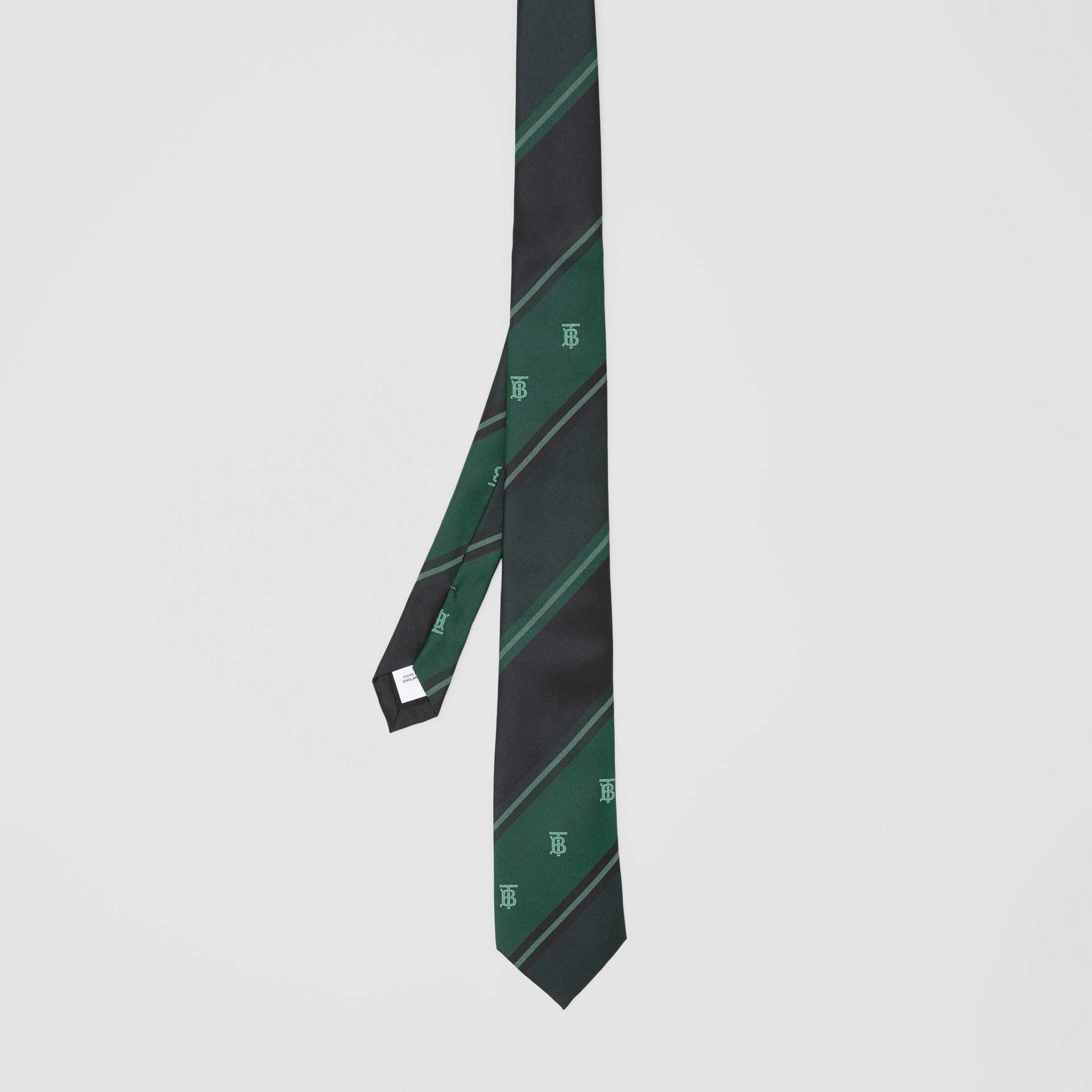 Cravate classique rayée en jacquard de soie Monogram (Vert Forêt) - Homme | Burberry Canada - photo de la galerie 4