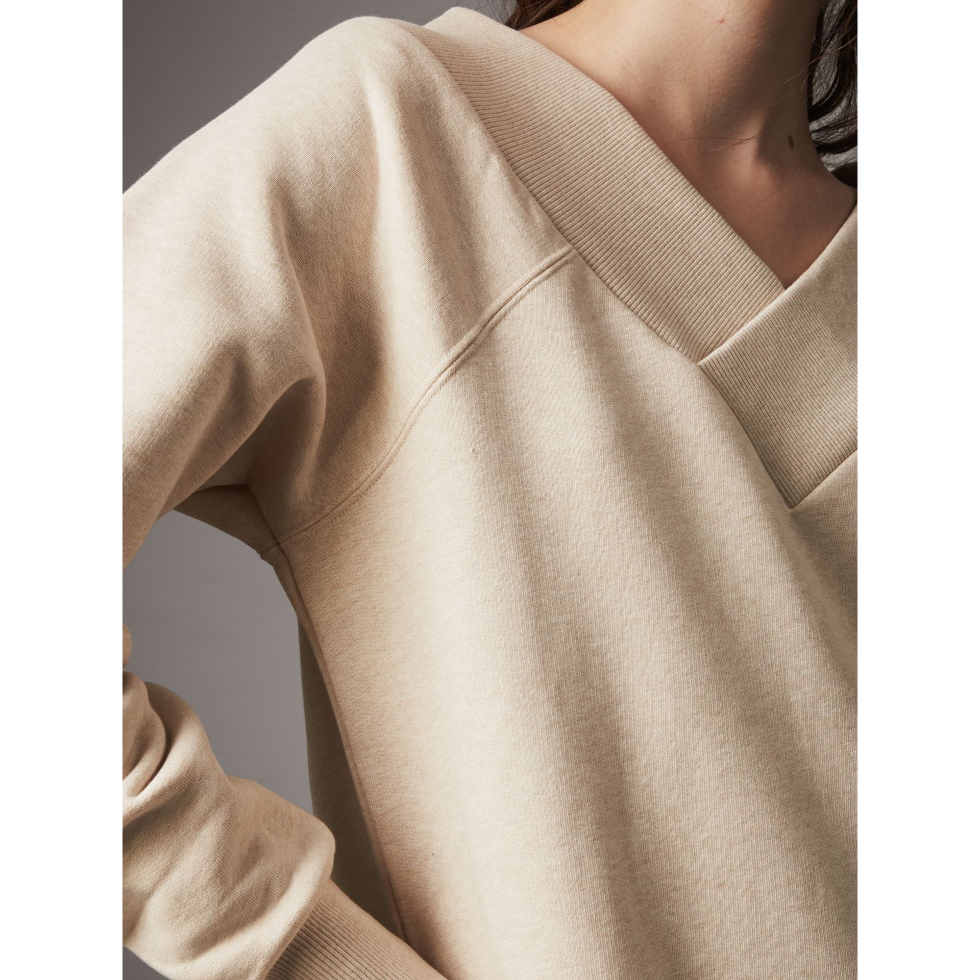 Cotton Blend V-neck Sweater Dress in Oatmeal Melange - Women | Burberry - gallery image 2