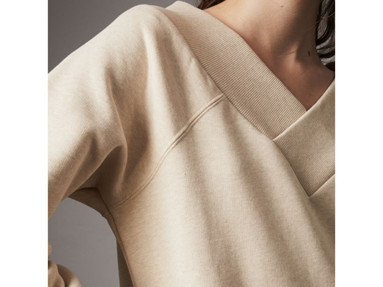 Cotton Blend V-neck Sweater Dress in Oatmeal Melange - Women | Burberry - cell image 1