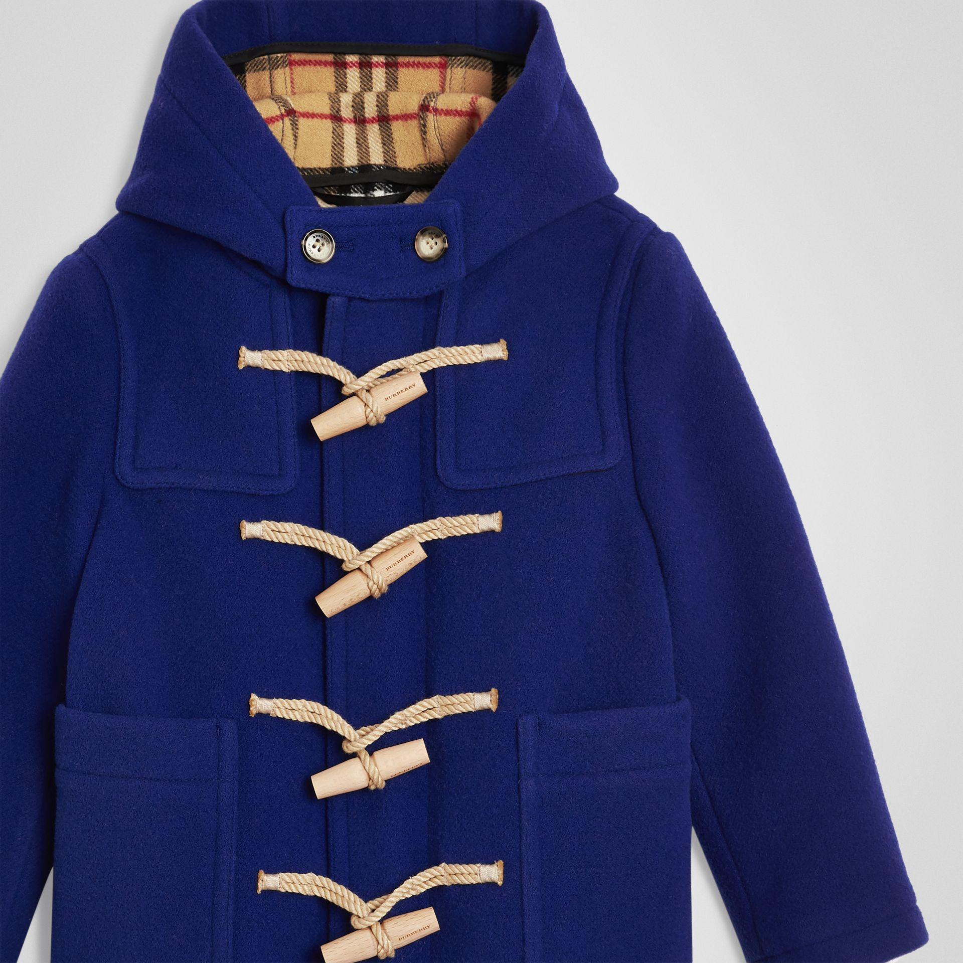 Double-faced Wool Duffle Coat in Brilliant Blue | Burberry - gallery image 4