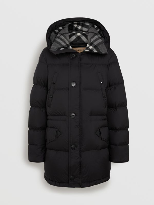 Check Detail Down-filled Hooded Puffer Coat in Black - Men | Burberry - cell image 3