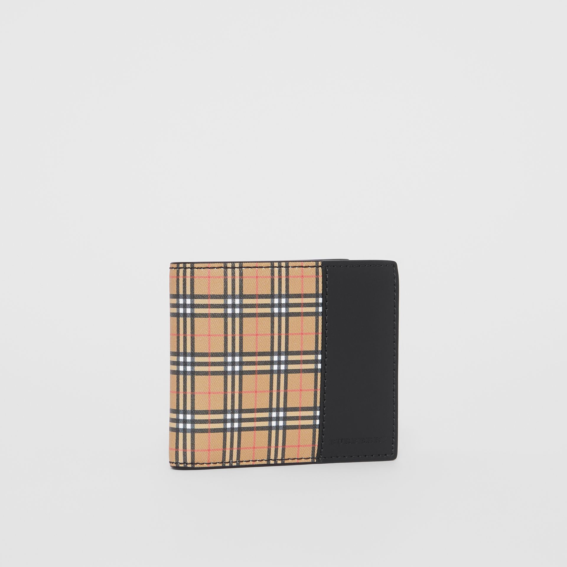 Small Scale Check and Leather Bifold Coin Wallet in Antique Yellow/black - Men | Burberry - gallery image 3