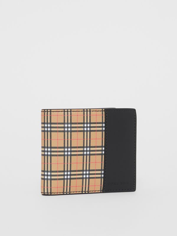 Small Scale Check and Leather Bifold Coin Wallet in Antique Yellow/black - Men | Burberry - cell image 3