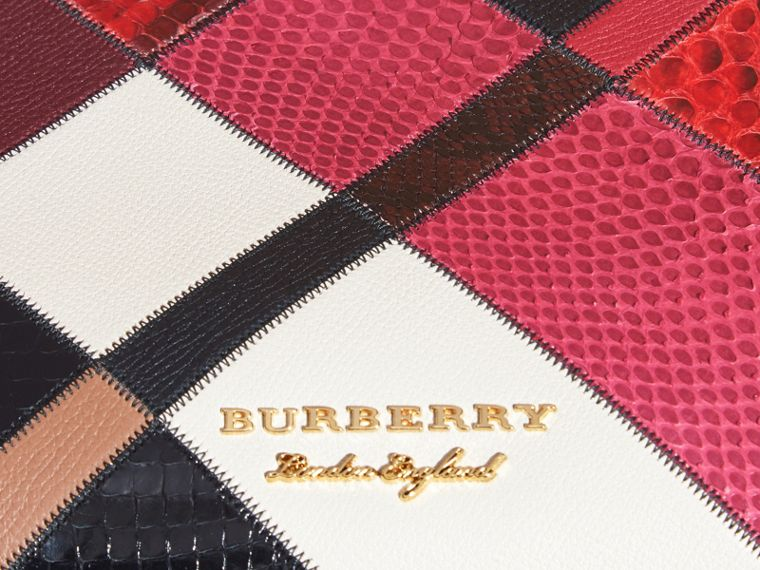 The Medium Banner in Patchwork Python and Leather in Pink - Women | Burberry United States - cell image 1