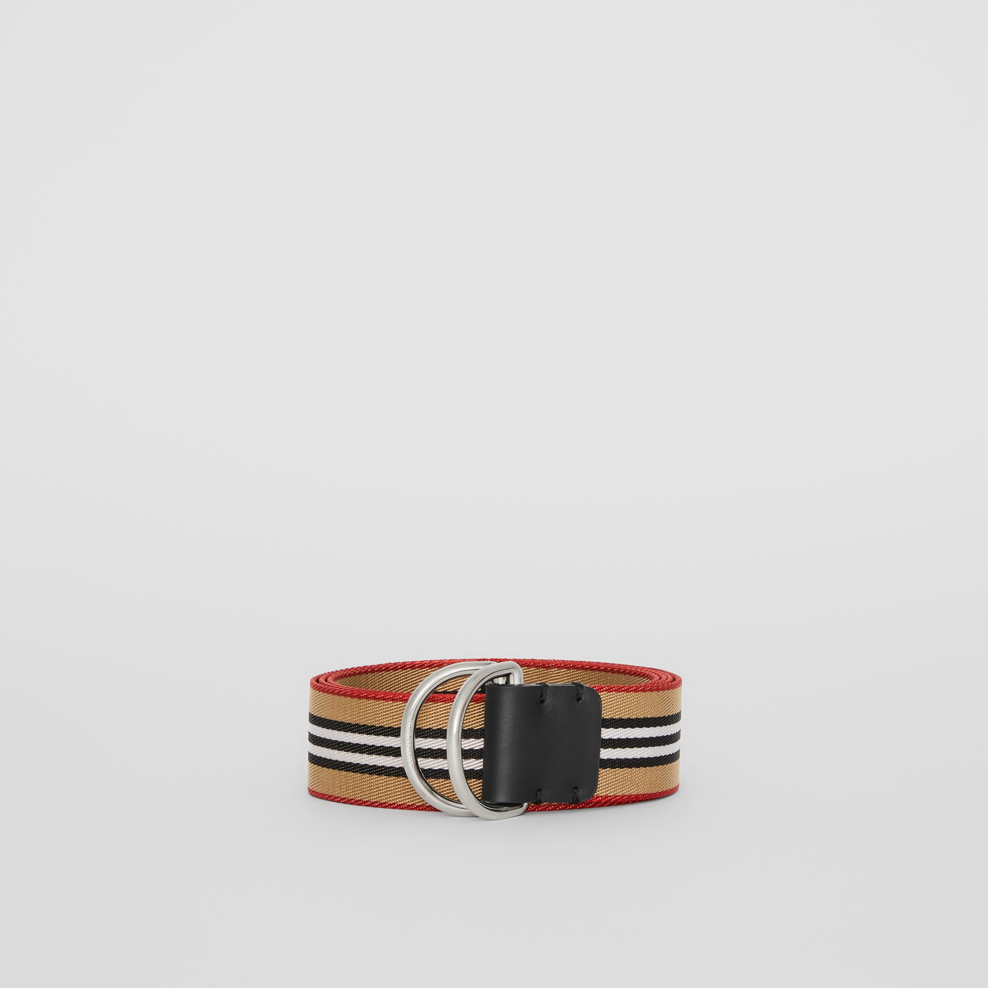 Icon Stripe Double D-ring Belt in Antique Yellow - Men | Burberry Singapore - gallery image 3