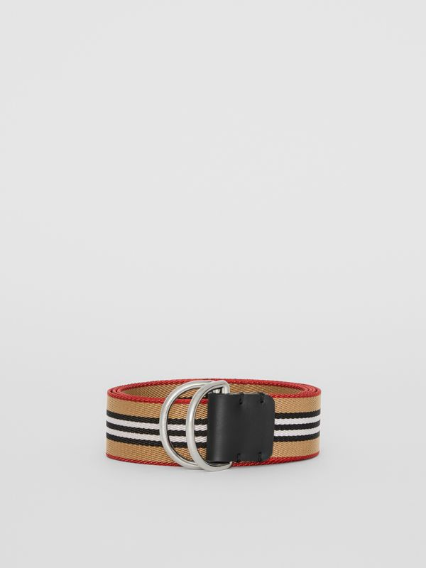 Icon Stripe Double D-ring Belt in Antique Yellow - Men | Burberry Singapore - cell image 3