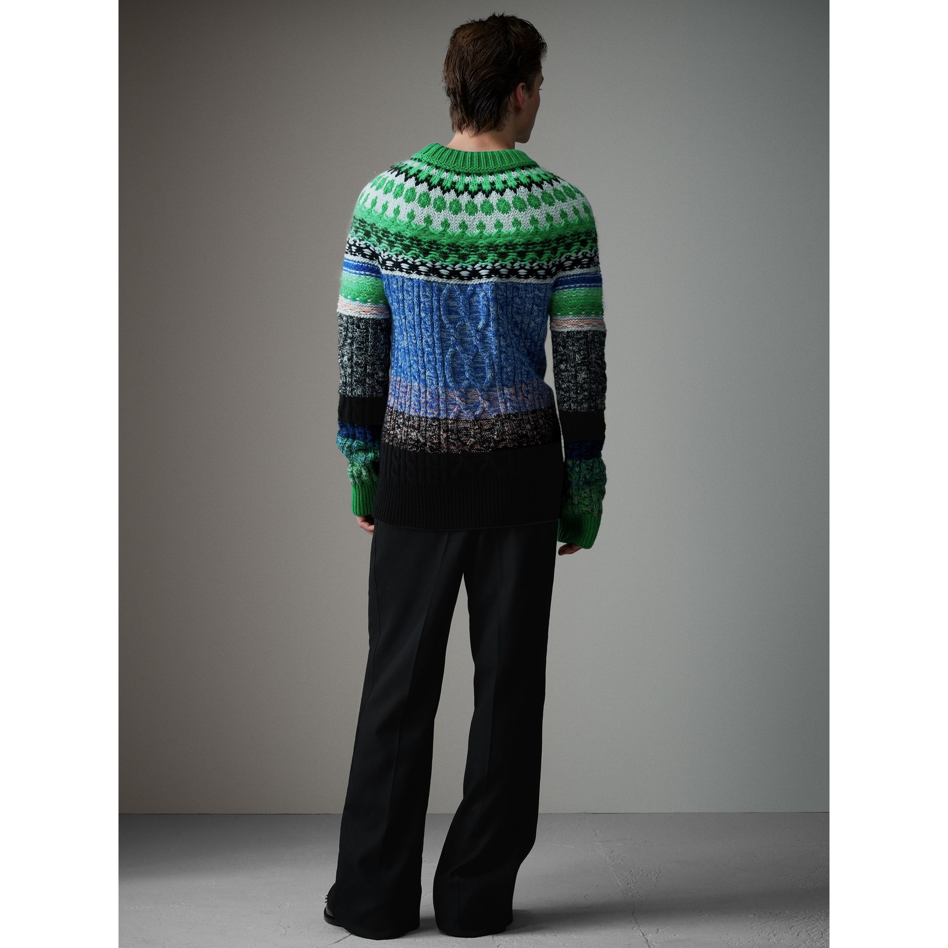 Multi-knit Cashmere Wool Mohair Mouliné Sweater in Bright Turquoise Green - Men | Burberry - gallery image 3