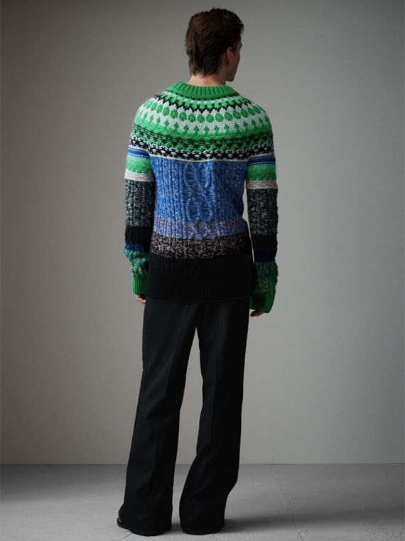 Multi-knit Cashmere Wool Mohair Mouliné Sweater in Bright Turquoise Green - Men | Burberry - cell image 2