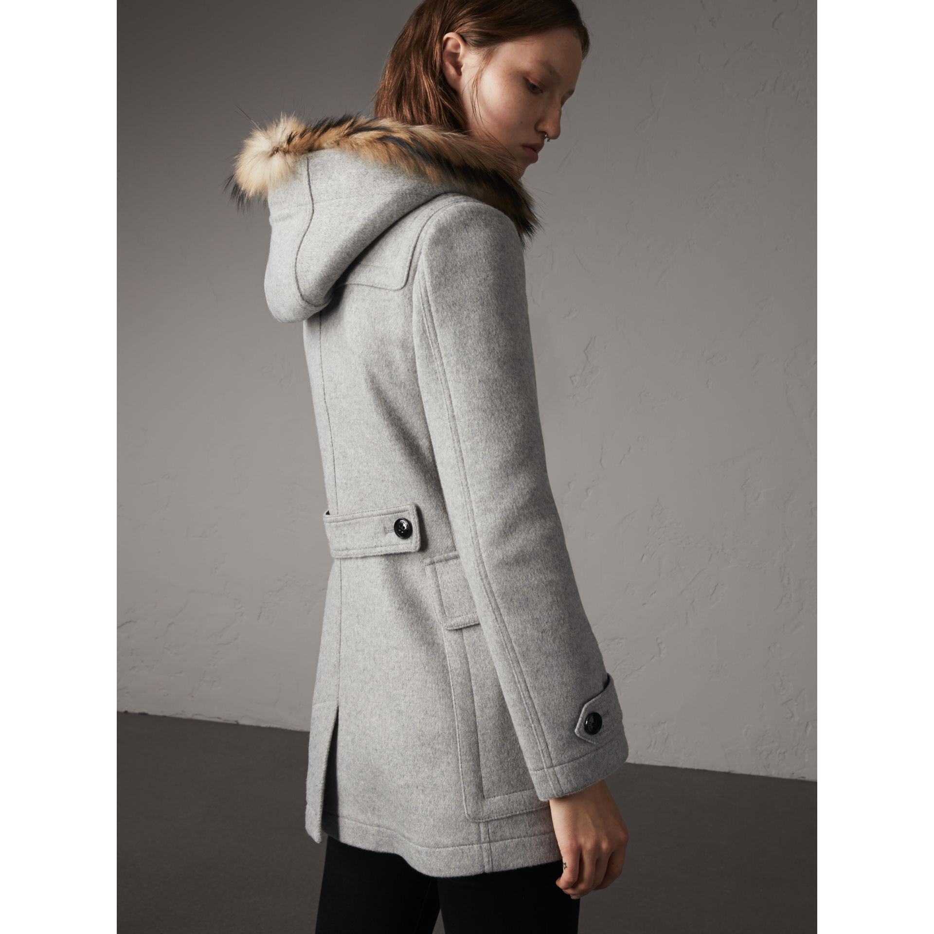Wool Duffle Coat with Detachable Fur Trim in Light Grey Melange - Women | Burberry - gallery image 3