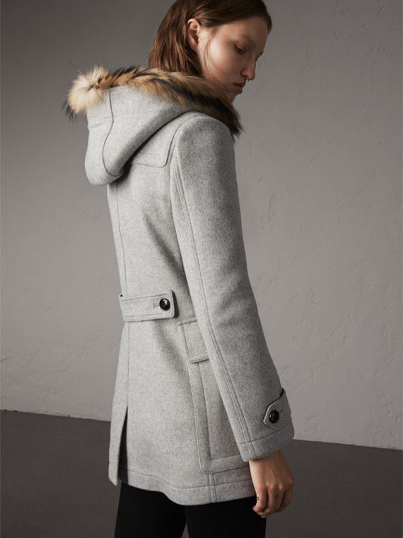 Wool Duffle Coat with Detachable Fur Trim in Light Grey Melange - Women | Burberry - cell image 3