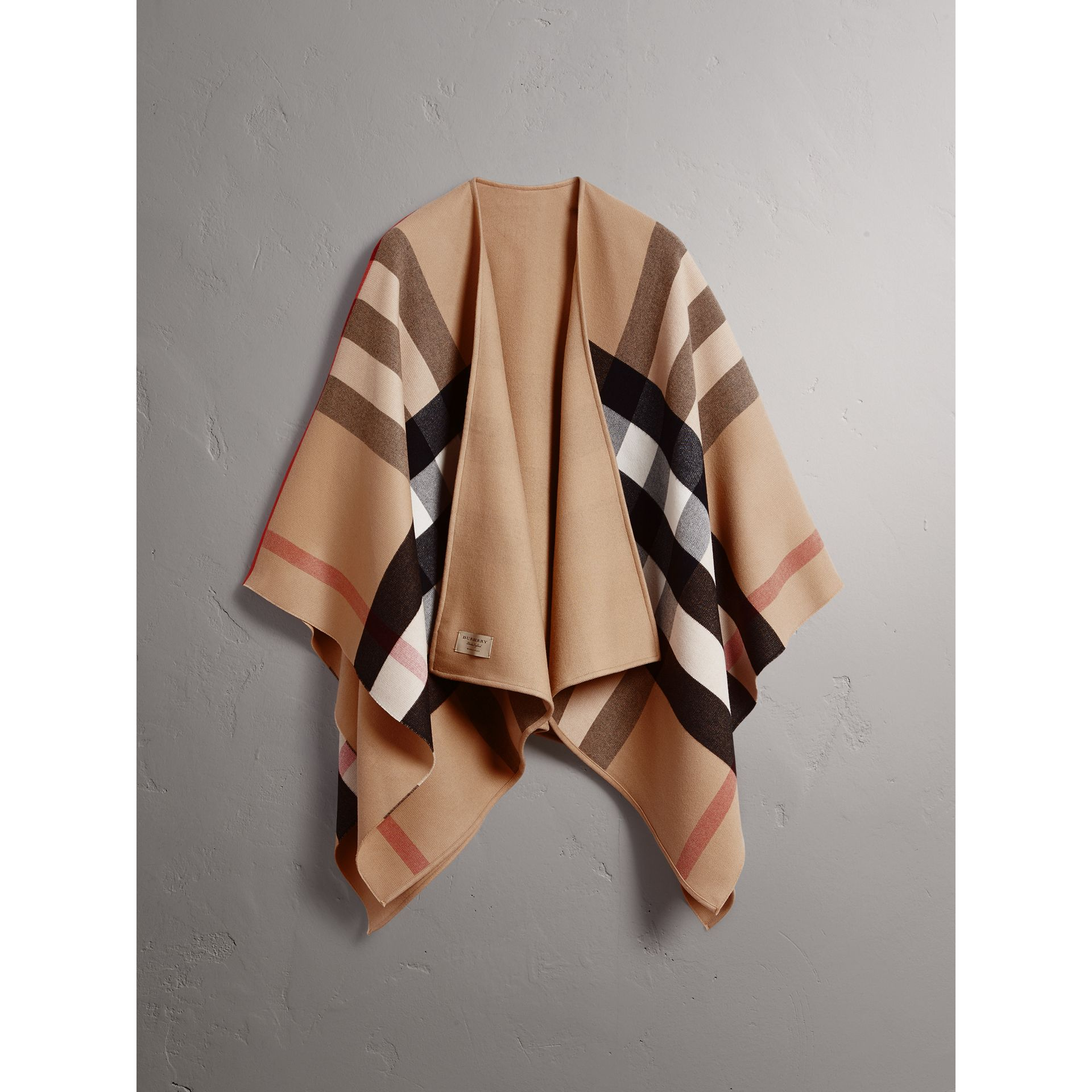 Reversible Check Merino Wool Poncho in Camel - Women | Burberry - gallery image 3