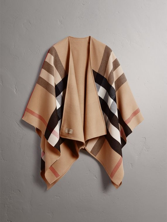 Reversible Check Merino Wool Poncho in Camel - Women | Burberry Australia - cell image 3