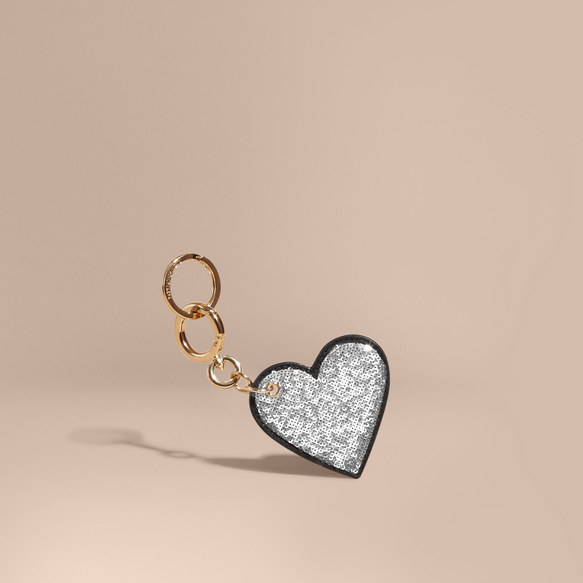 Sequinned Heart Key Charm in White/black - gallery image 1