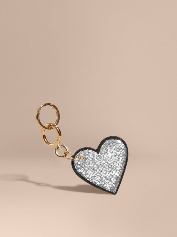 Sequinned Heart Key Charm in White/black - Women | Burberry