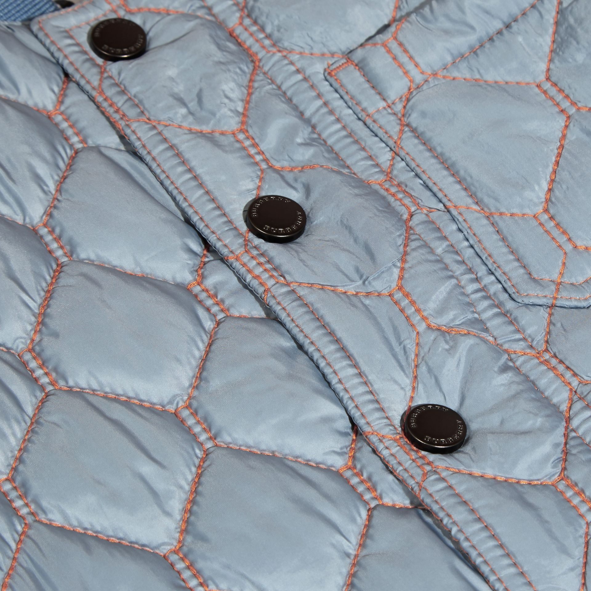 Contrast Topstitch Detail Quilted Jacket in Slate Blue | Burberry - gallery image 2