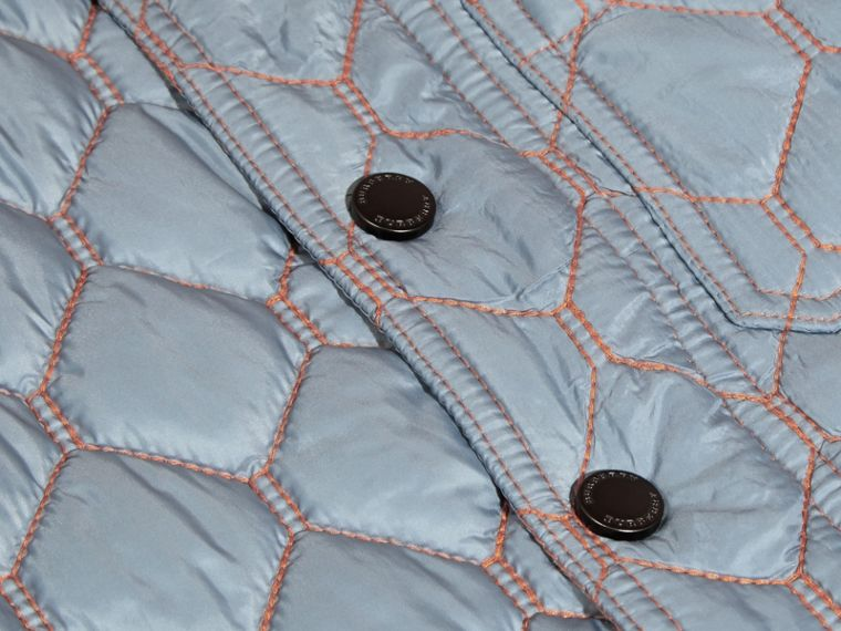 Contrast Topstitch Detail Quilted Jacket in Slate Blue | Burberry - cell image 1