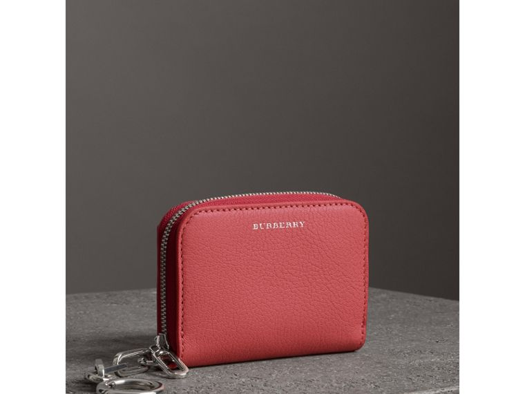 Link Detail Leather Ziparound Wallet in Bright Coral Pink - Women | Burberry - cell image 4