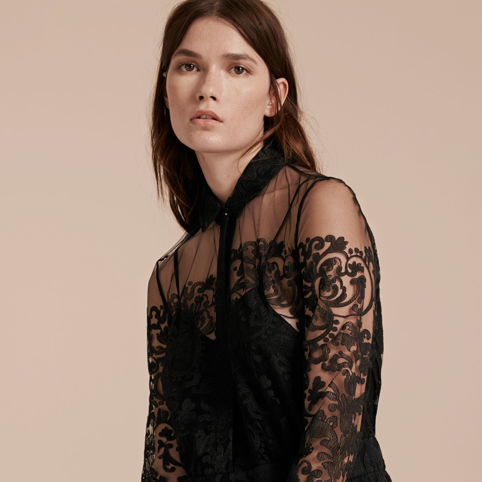 Black Lace Shirt Dress - gallery image 5