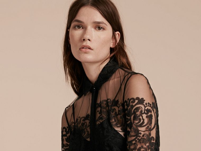 Black Lace Shirt Dress - cell image 4