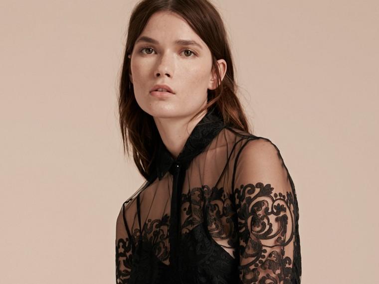 Noir Robe chemise en dentelle - cell image 4