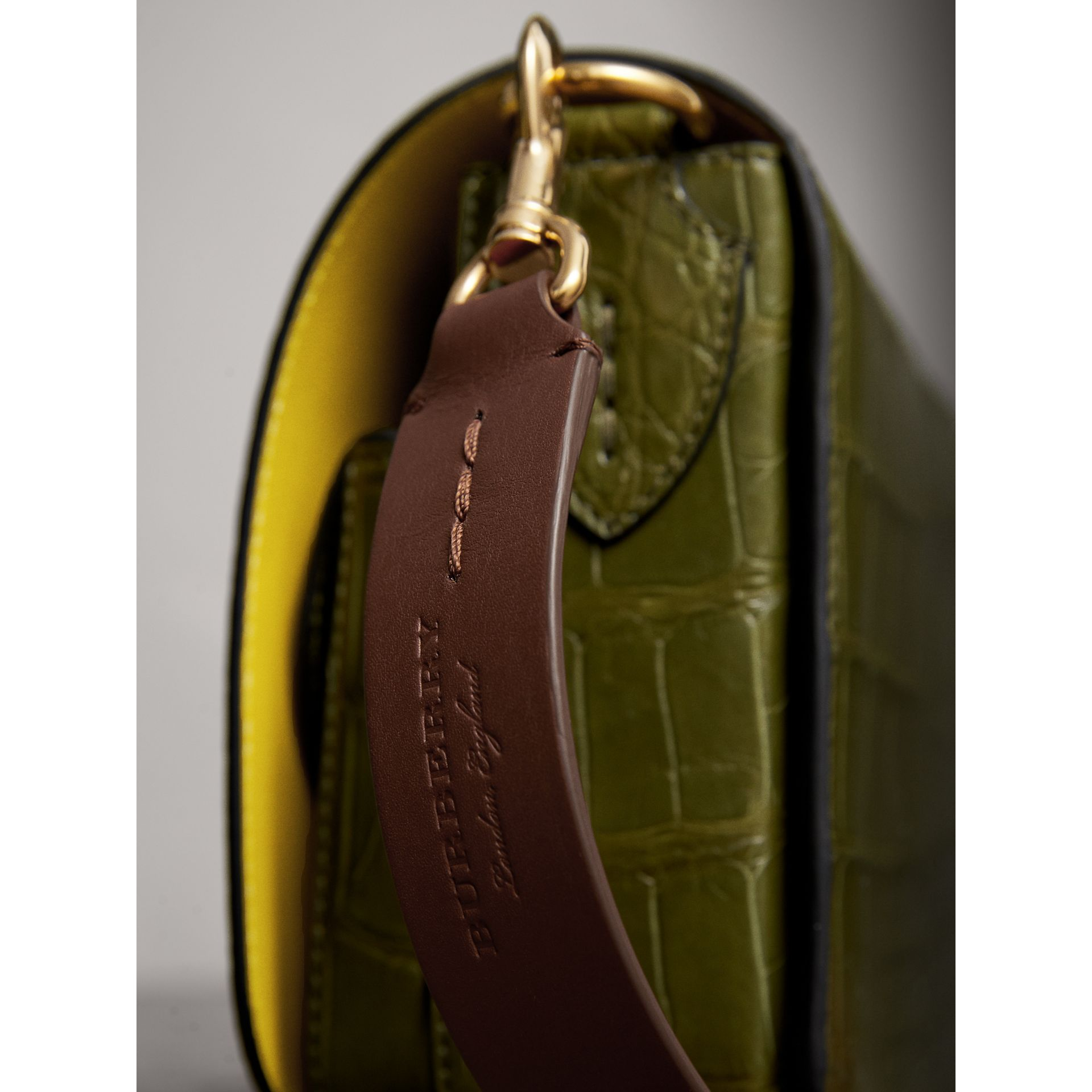 The Square Satchel in Alligator in Dark Antique Green - Women | Burberry Australia - gallery image 1