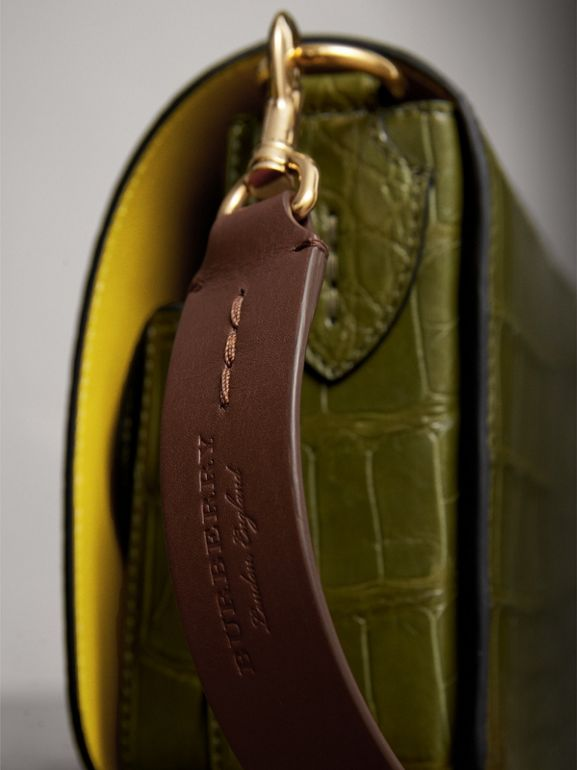 The Square Satchel in Alligator in Dark Antique Green - Women | Burberry Australia - cell image 1