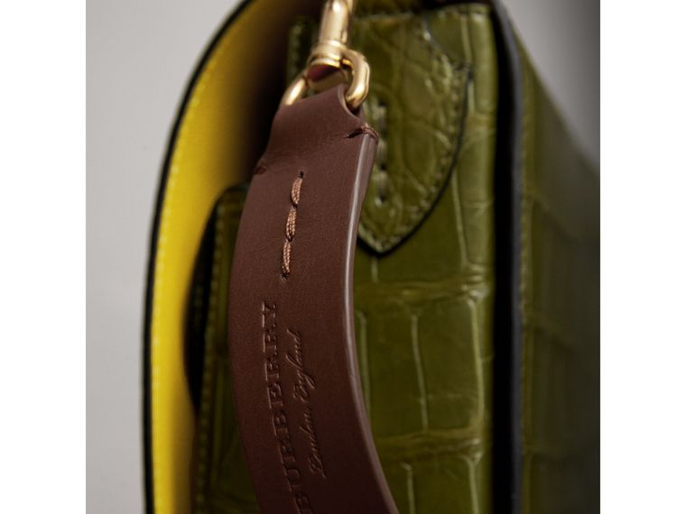 The Square Satchel in Alligator in Dark Antique Green - Women | Burberry Singapore - cell image 1