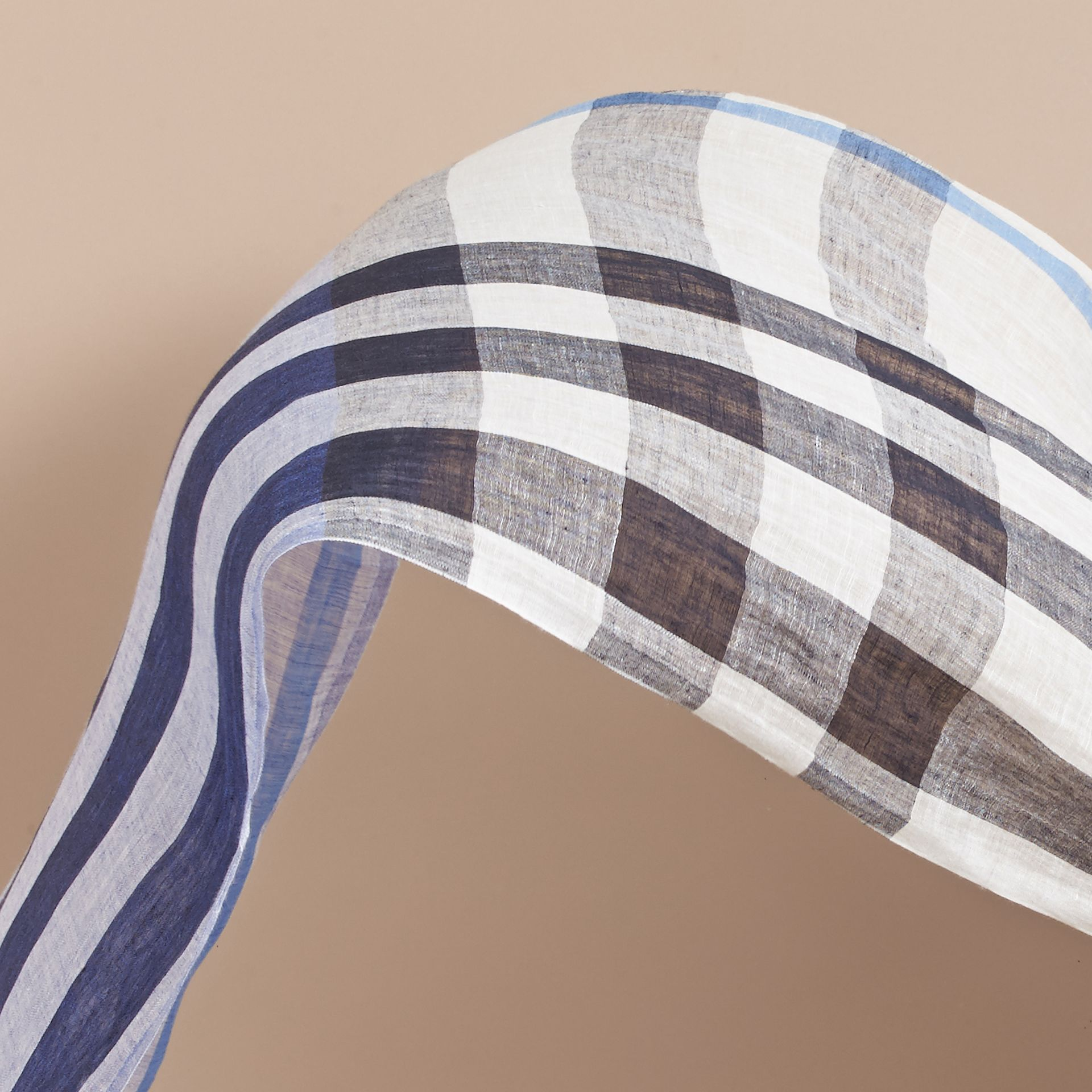 Lightweight Check Linen Scarf in Chalk Blue | Burberry Australia - gallery image 4