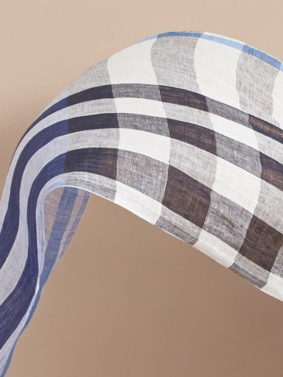 Lightweight Check Linen Scarf in Chalk Blue | Burberry Australia - cell image 3
