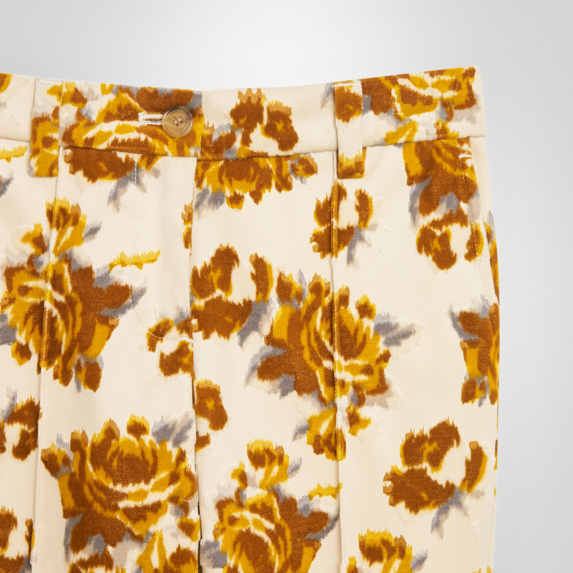 Floral Velvet Jacquard Trousers in Mustard Pattern | Burberry Singapore - gallery image 4
