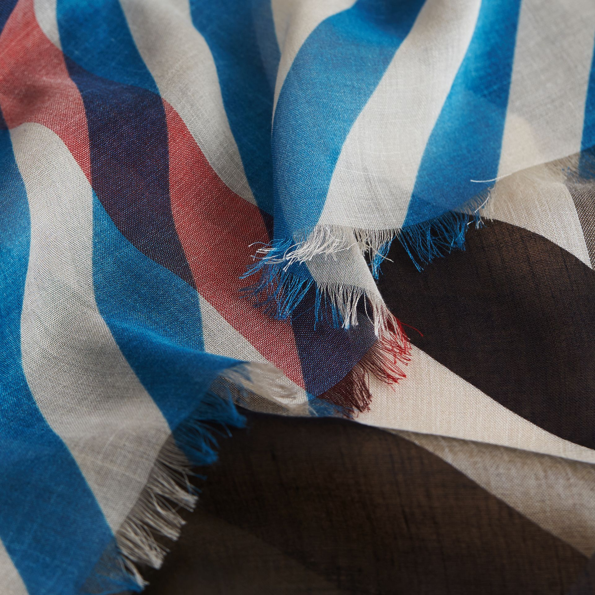 Check and Stripe Modal Cashmere Silk Scarf Indigo/stone - gallery image 2