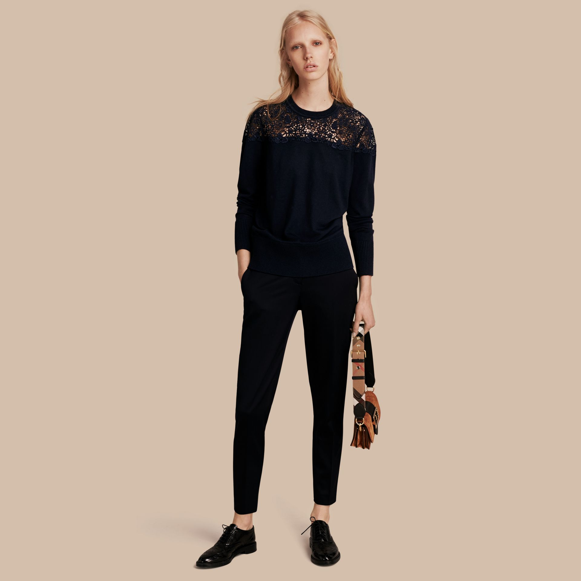 Navy Lace Yoke Merino Wool Sweater Navy - gallery image 1
