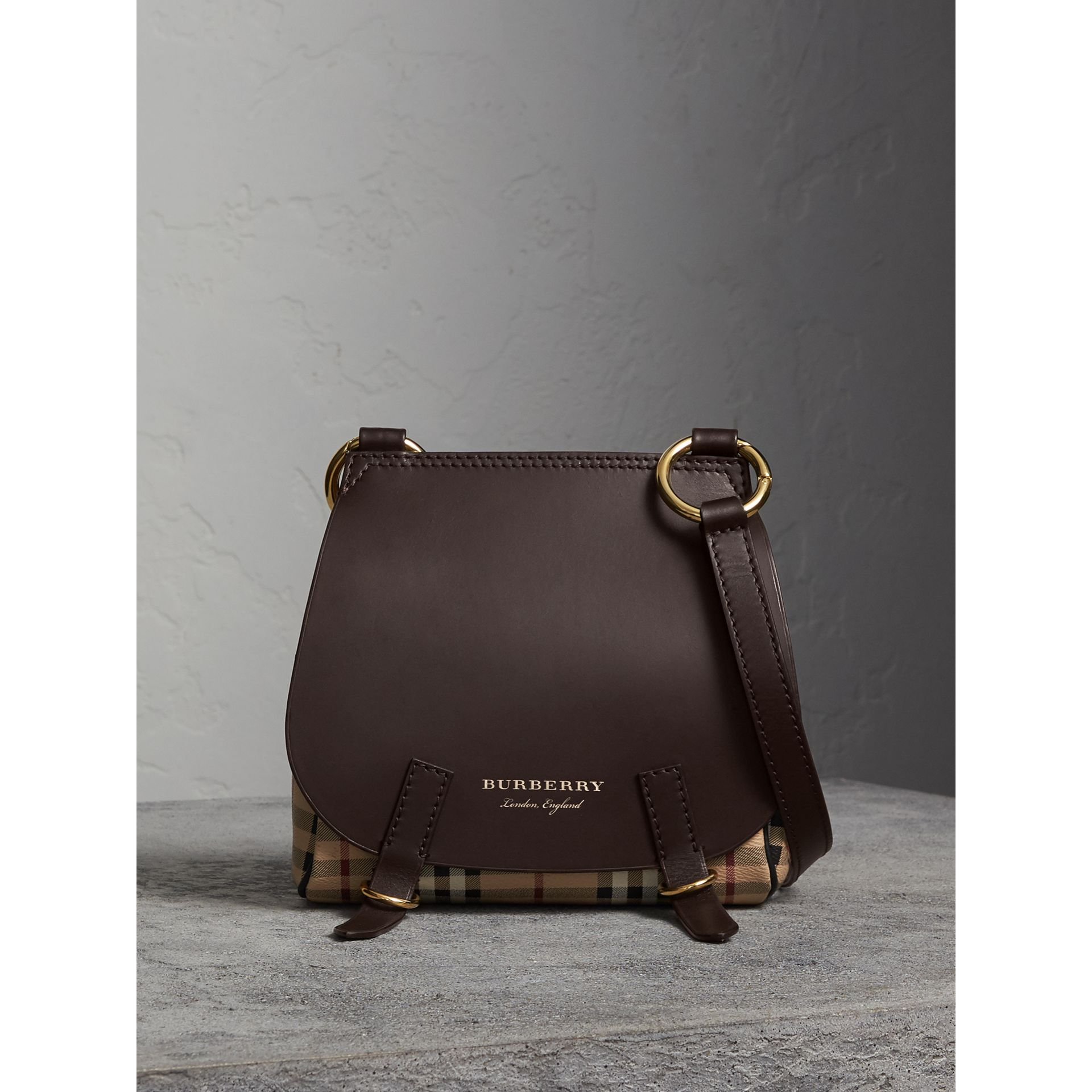 The Bridle Crossbody Bag in Haymarket Check in Dark Clove Brown - Women | Burberry United Kingdom - gallery image 7