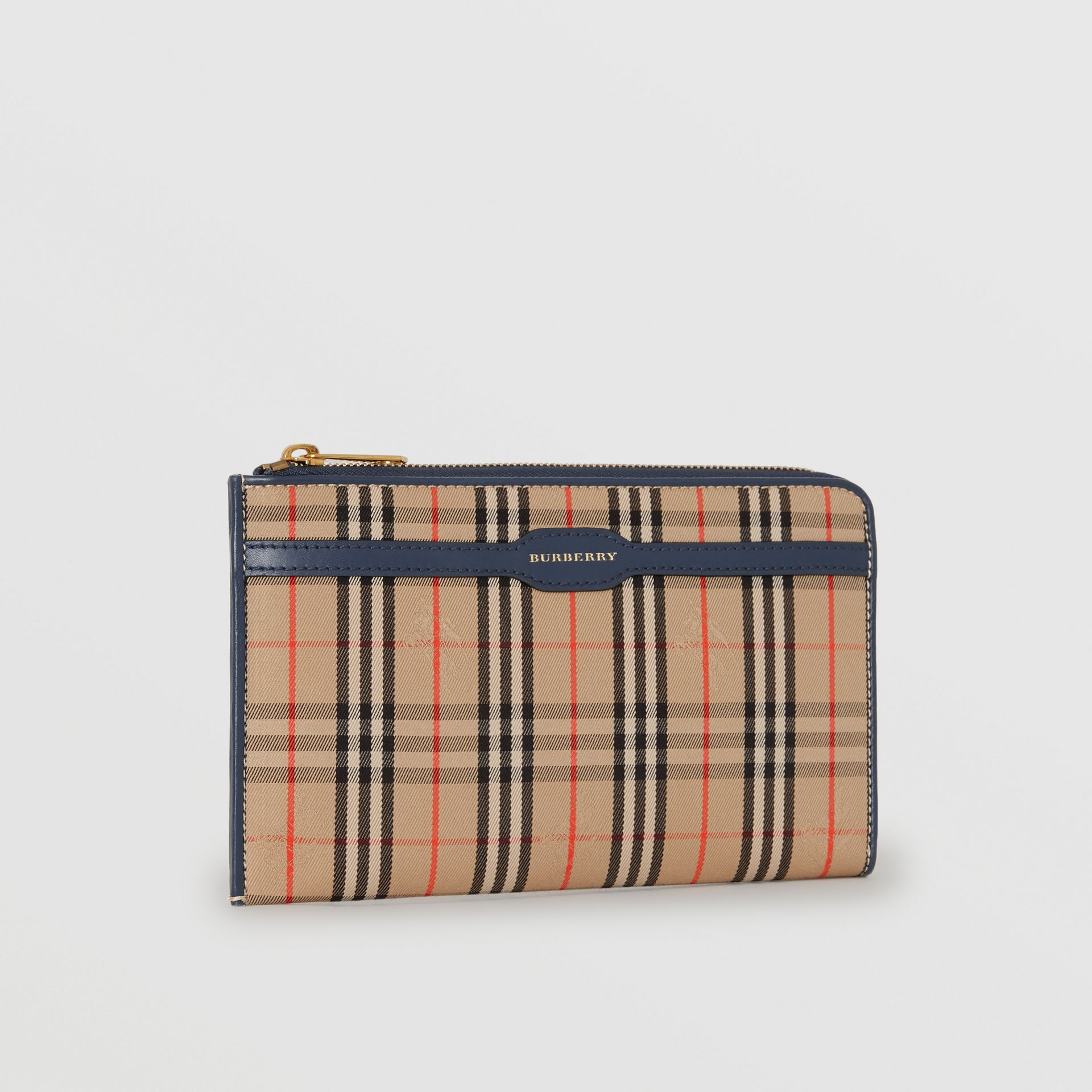 1983 Check and Leather Travel Wallet in Ink Blue - Men | Burberry - gallery image 5