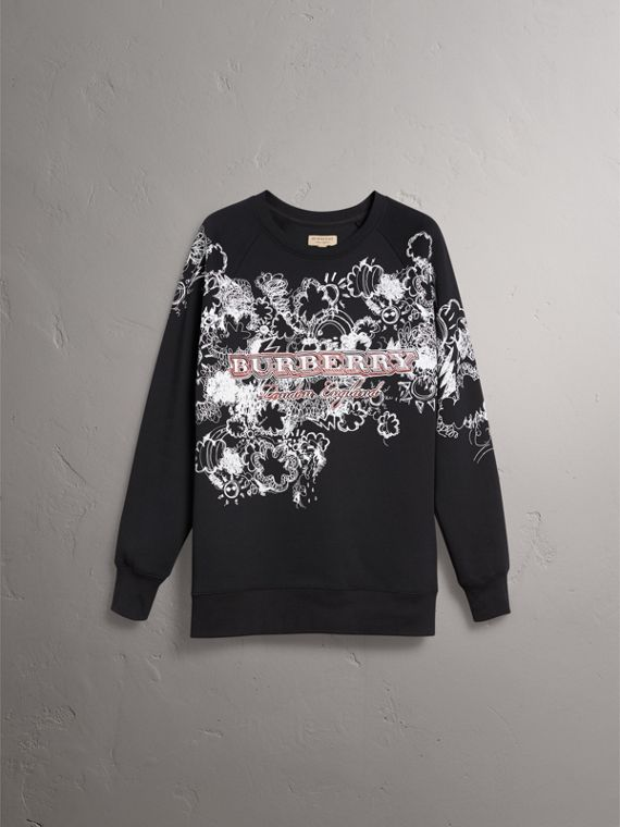 Doodle Print Jersey Sweatshirt in Black - Men | Burberry Singapore - cell image 3