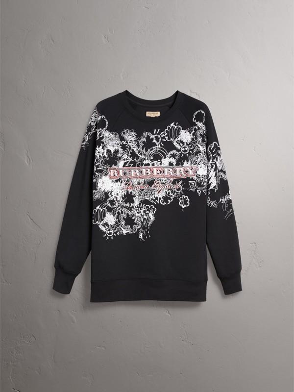 Doodle Print Jersey Sweatshirt in Black - Men | Burberry - cell image 3
