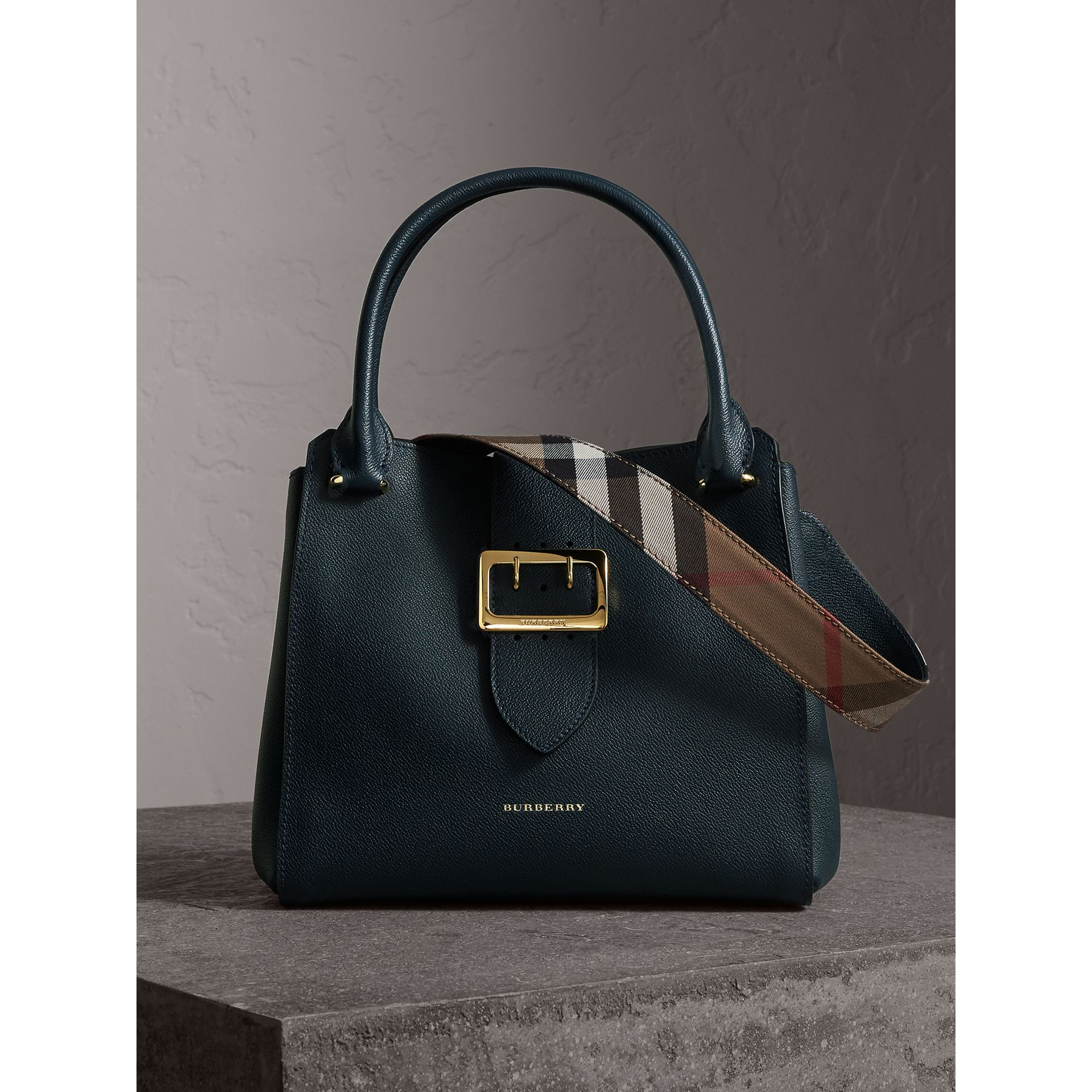 The Medium Buckle Tote in Grainy Leather in Blue Carbon - Women | Burberry - gallery image 0