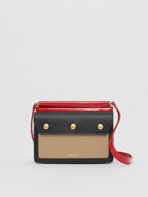 Mini Panelled Leather Title Bag with Pocket Detail in Honey