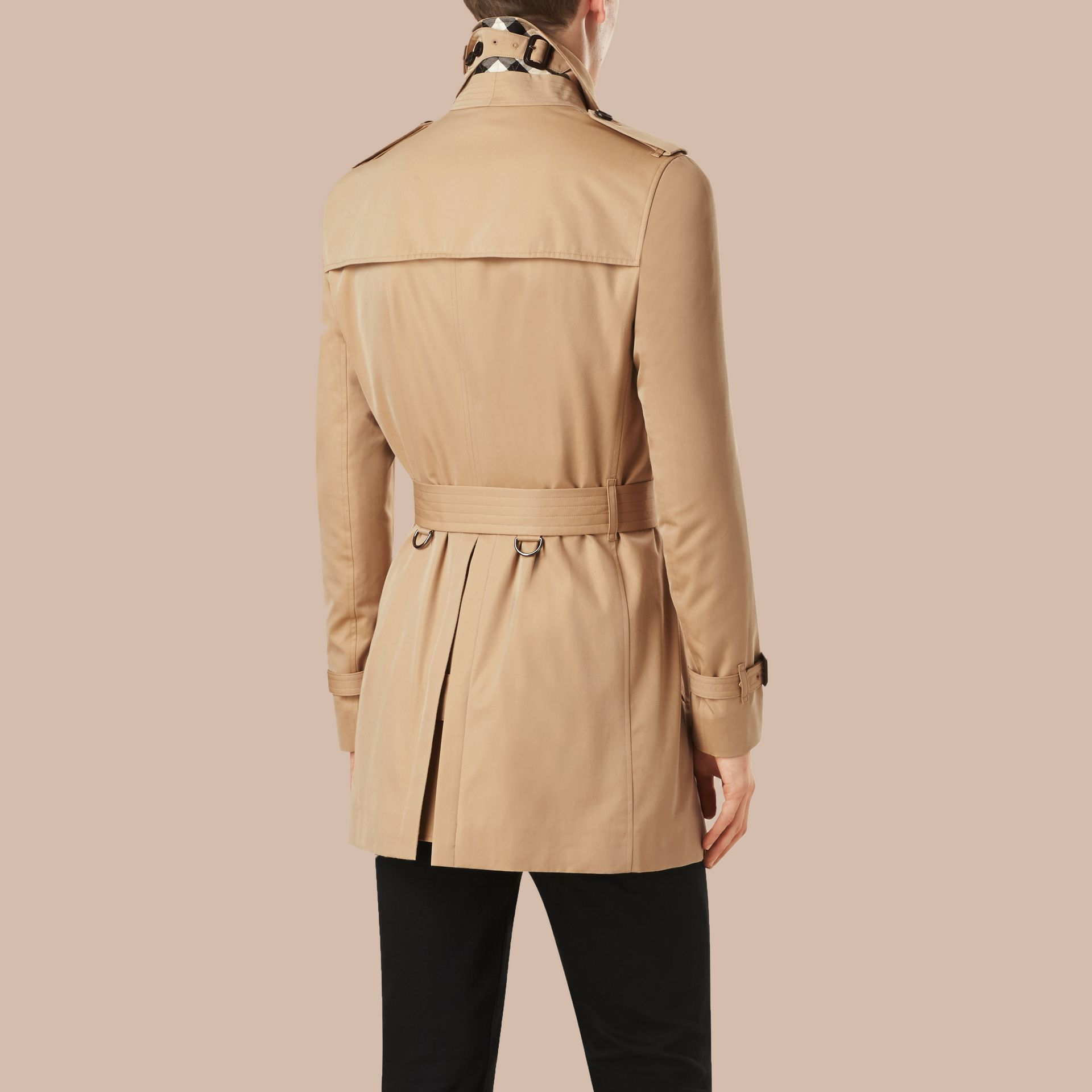 Honey Mid-length Cotton Gabardine Trench Coat - gallery image 3
