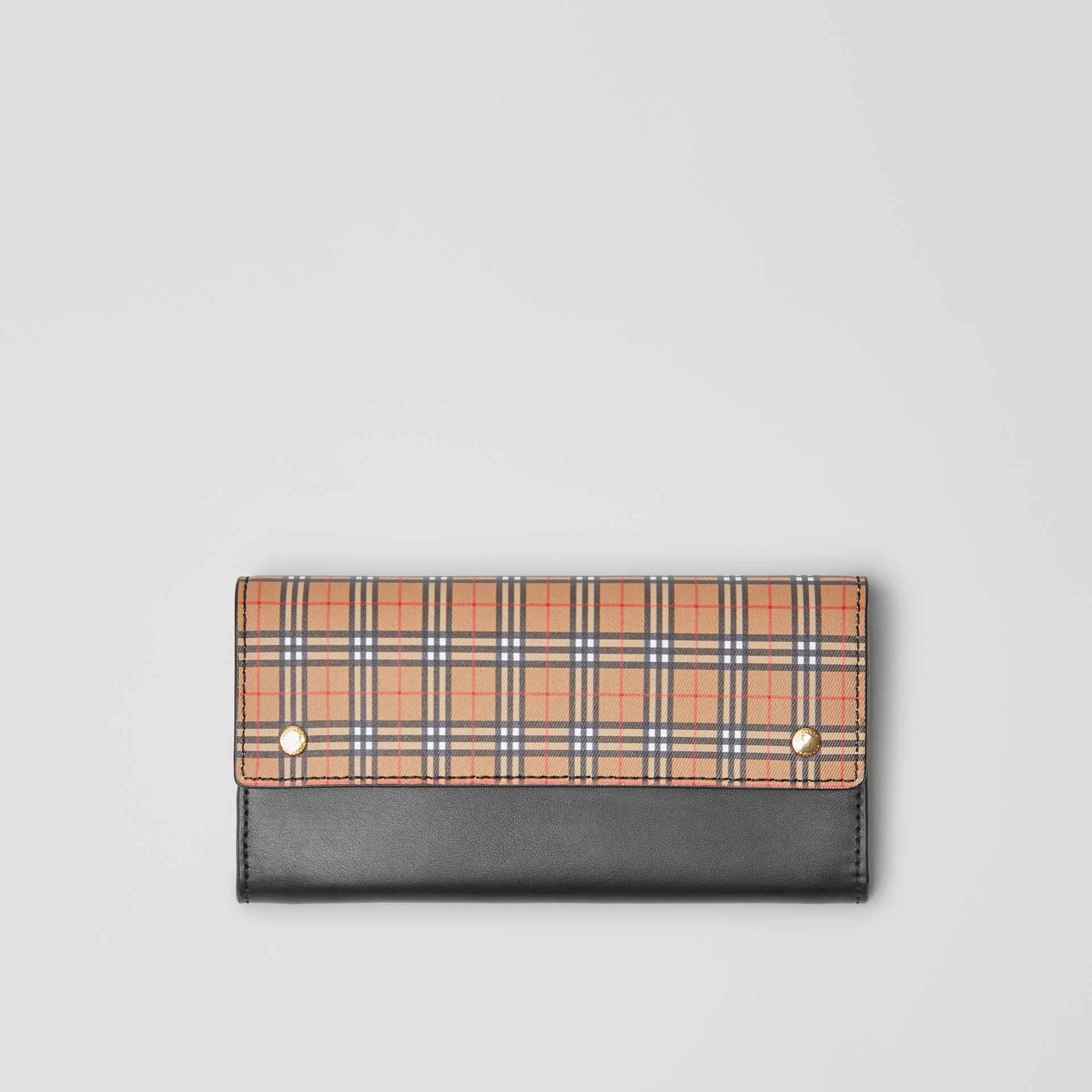 Small Scale Check and Leather Continental Wallet in Antique Yellow - Women | Burberry - gallery image 0
