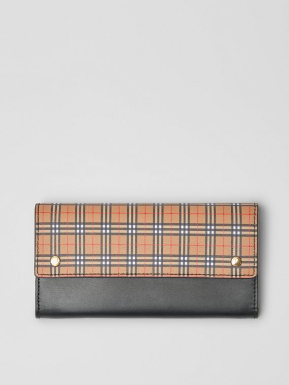 Small Scale Check and Leather Continental Wallet in Antique Yellow