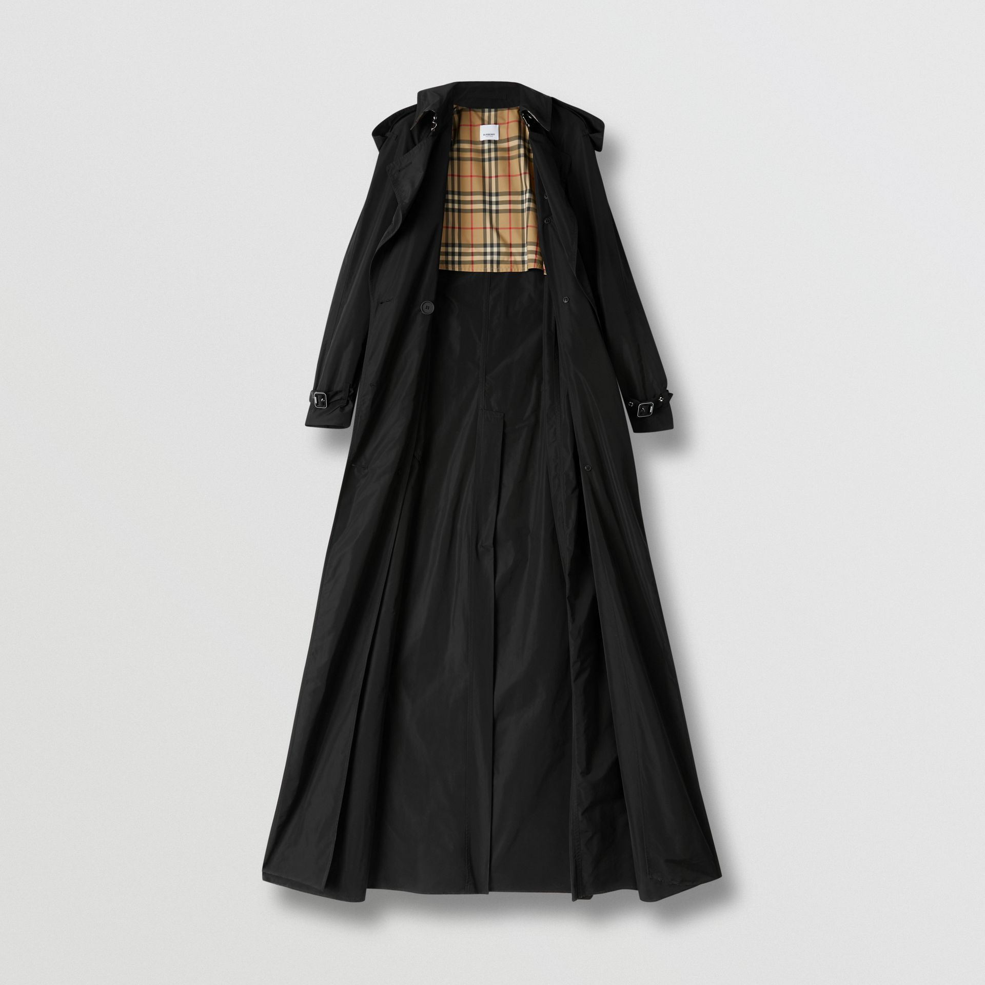 Extra Long Shape-memory Taffeta Trench Coat in Black - Women | Burberry - gallery image 6