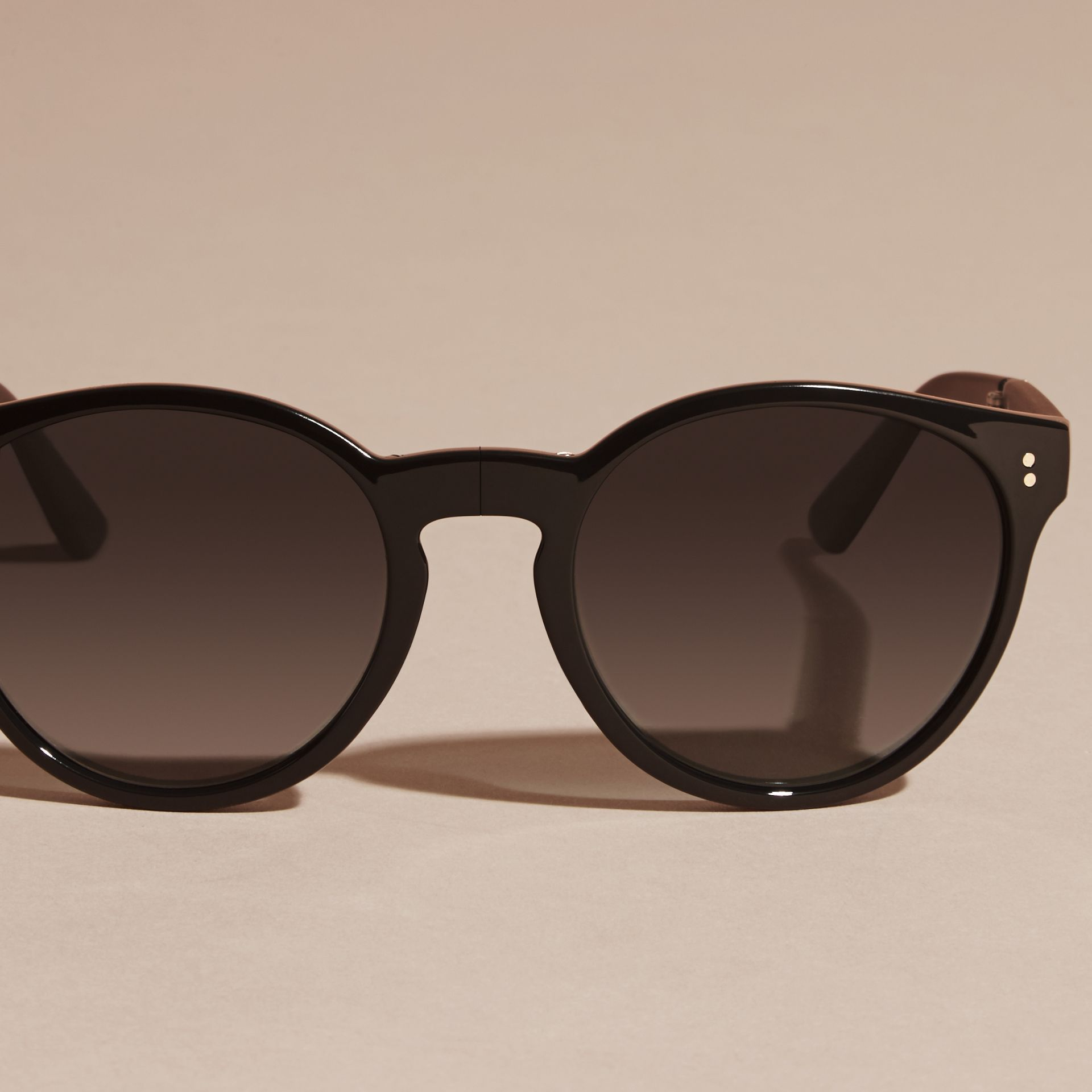 Black Folding Round Frame Sunglasses Black - gallery image 3