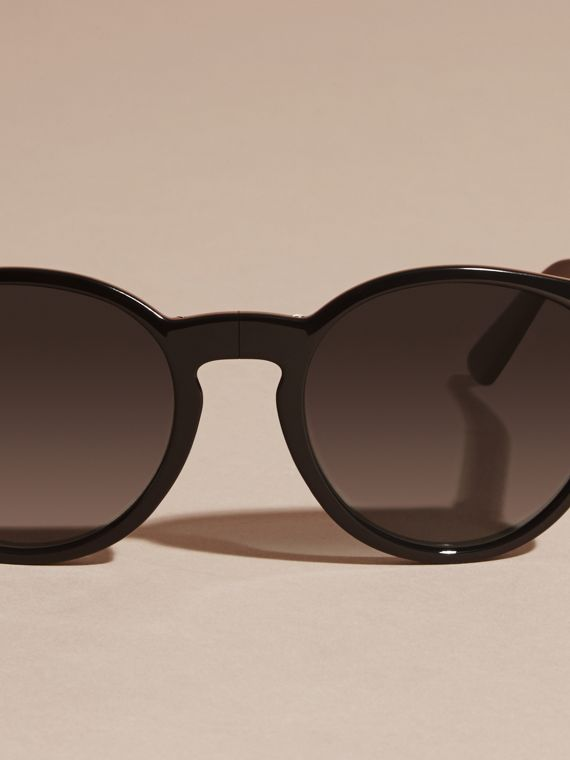 Folding Round Frame Sunglasses Black - cell image 2