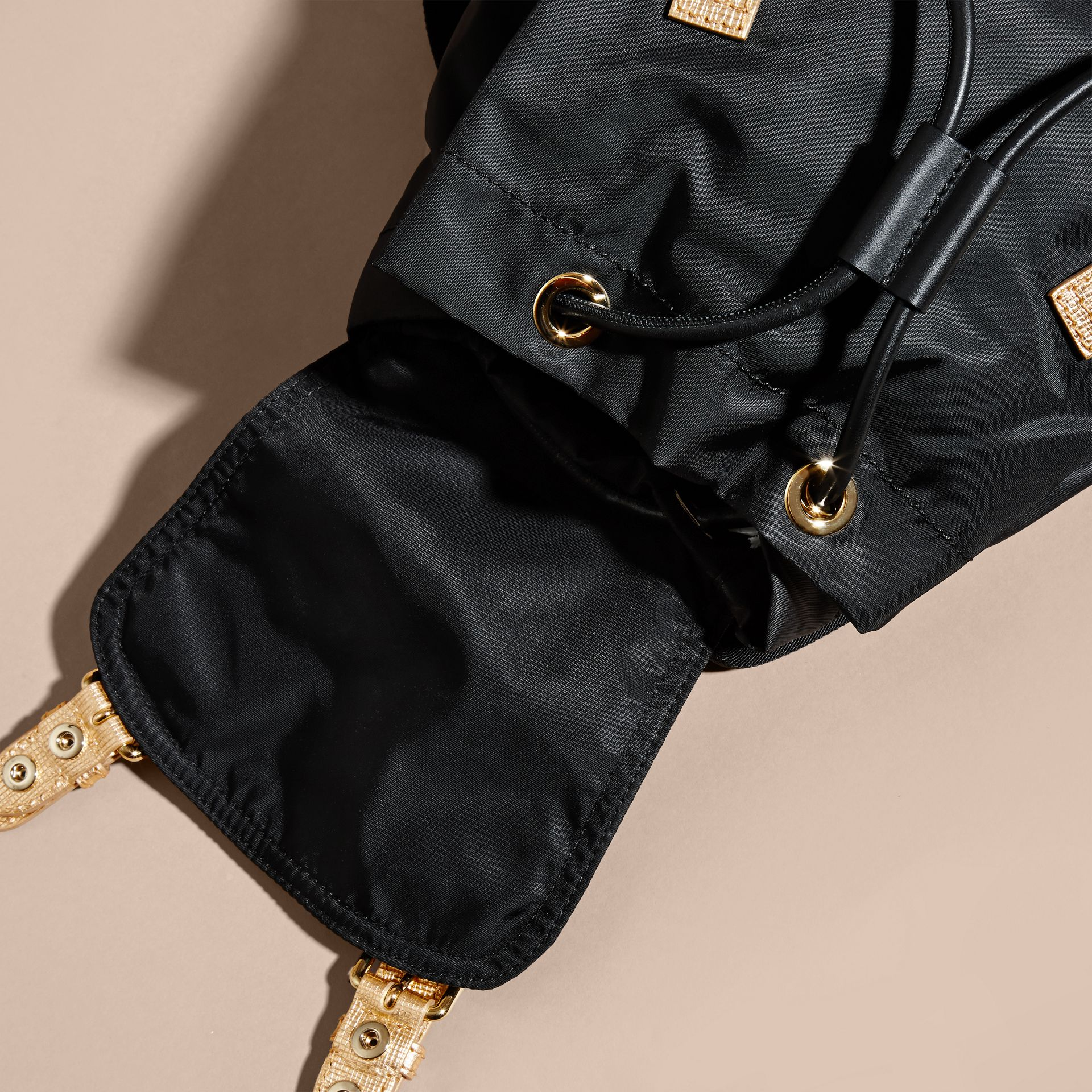 The Medium Rucksack in Two-tone Nylon and Leather Black/gold - gallery image 6