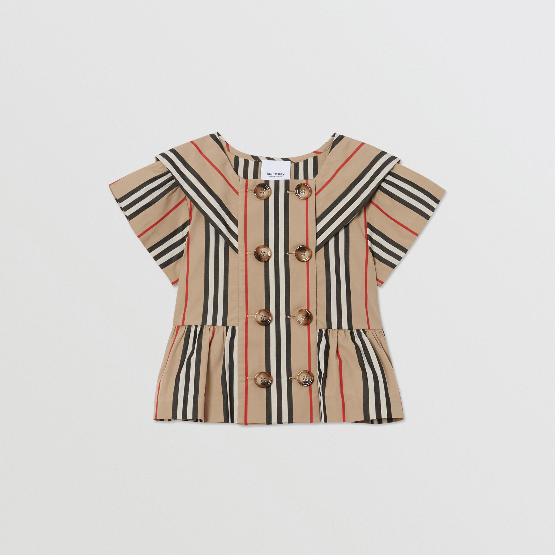 Icon Stripe Cotton Poplin Sailor Top in Archive Beige | Burberry - gallery image 0