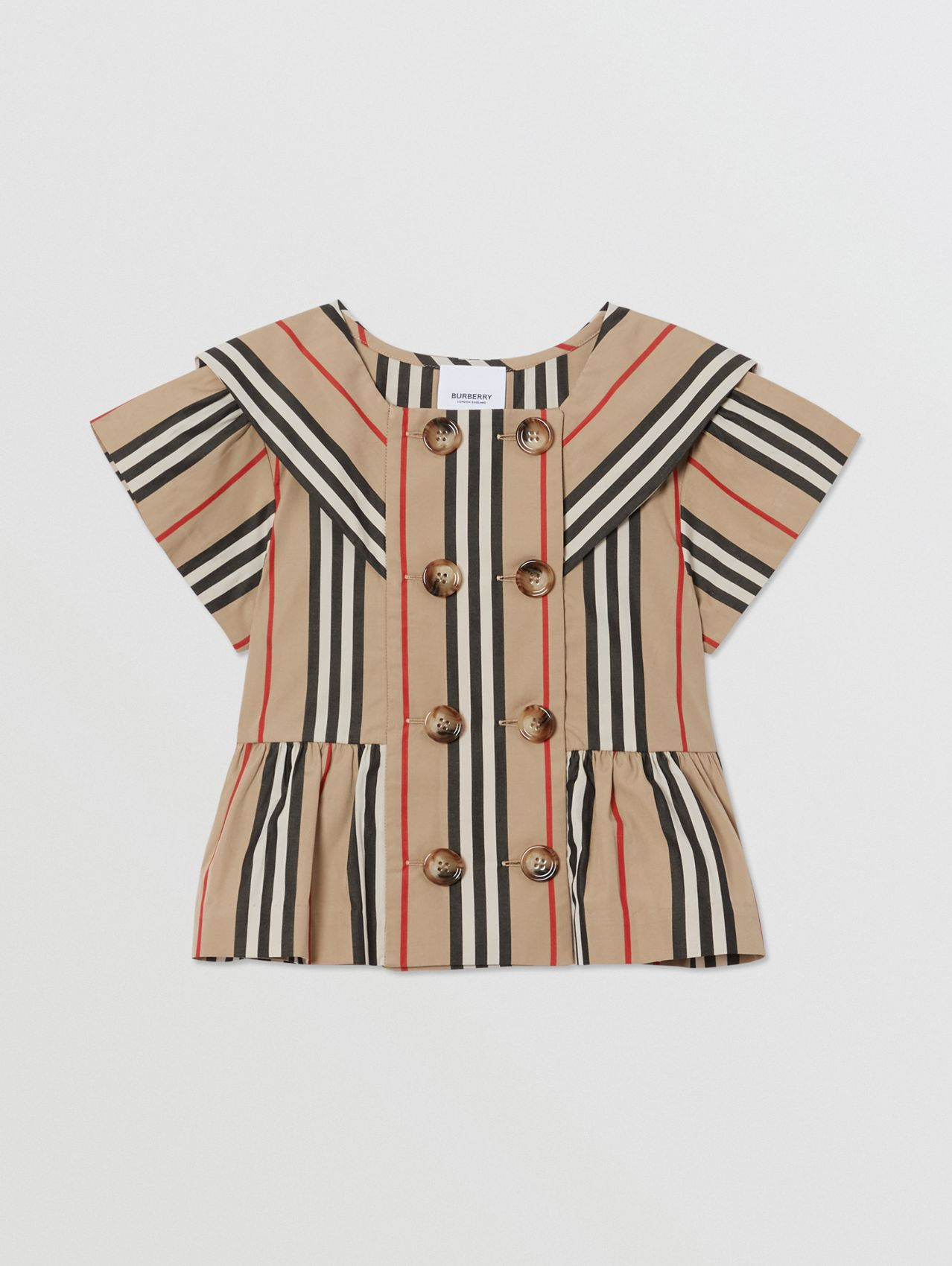 Icon Stripe Cotton Poplin Sailor Top in Archive Beige